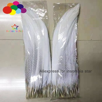 Top 50Pcs 40-65CM Natural  silver Pheasant white Tail Feather Black Pattern  DIY feathers for crafts Wedding Decorations Costume