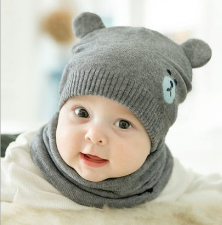 Baby Accessories Toddler Girls Girl Baby Hat Winter Knit Beanie Cap Hat+Scarf 2pcs Hot Sale Set 0-24Months