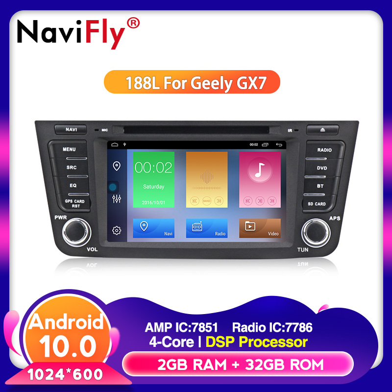 NaviFly Quad-core Android10.0 system 32G ROM Car Multimedia for Geely Emgrand GX7 EX7 X7 car gps with dvd plarer FM navi WIFI