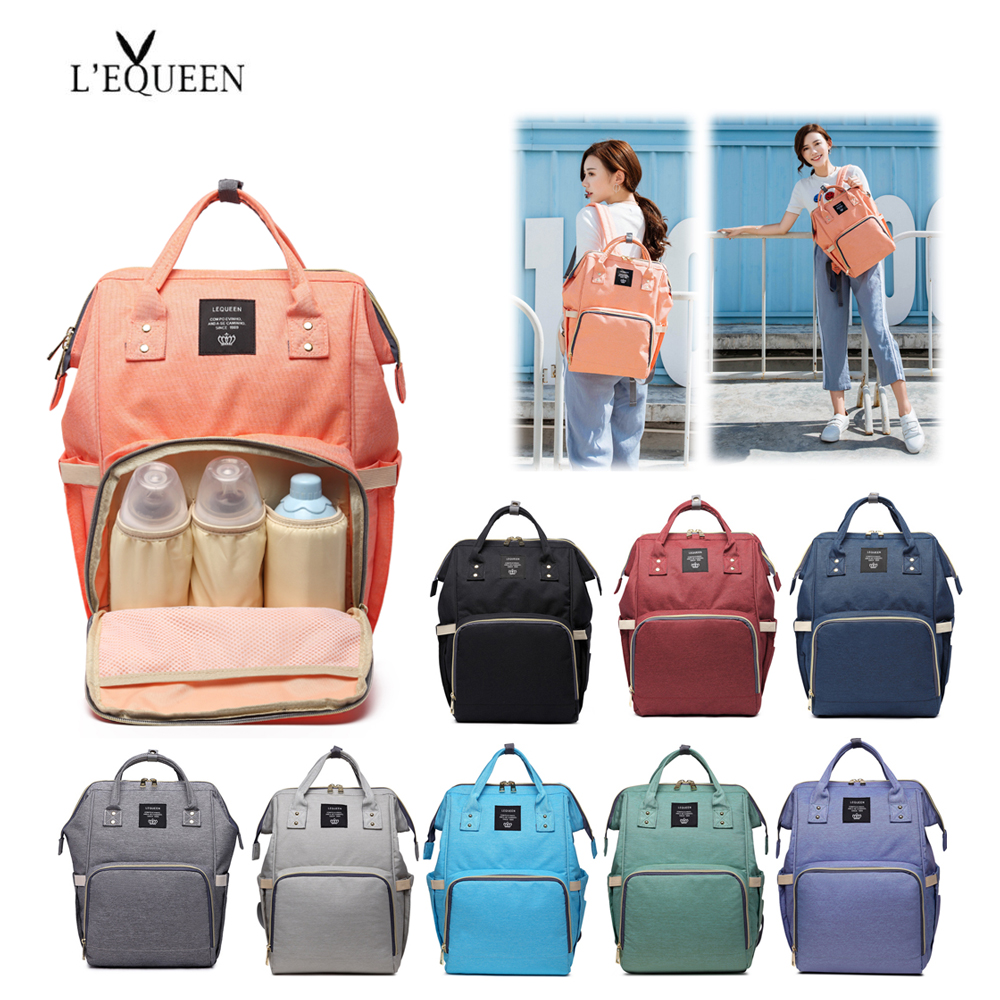 LEQUEEN Fashion Mummy Maternity Nappy Bag Large Capacity Baby Bag Travel Backpack Nursing Bag For Baby Care Nappy Hand Bag