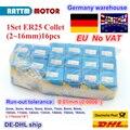 DE Free VAT 1 Набор ER25 2-16 мм 16 шт цанговый биение 0 1 мм прецизионная пружинная Цанга для фрезерного станка с ЧПУ 3 кВт 4 кВт Мотор шпинделя