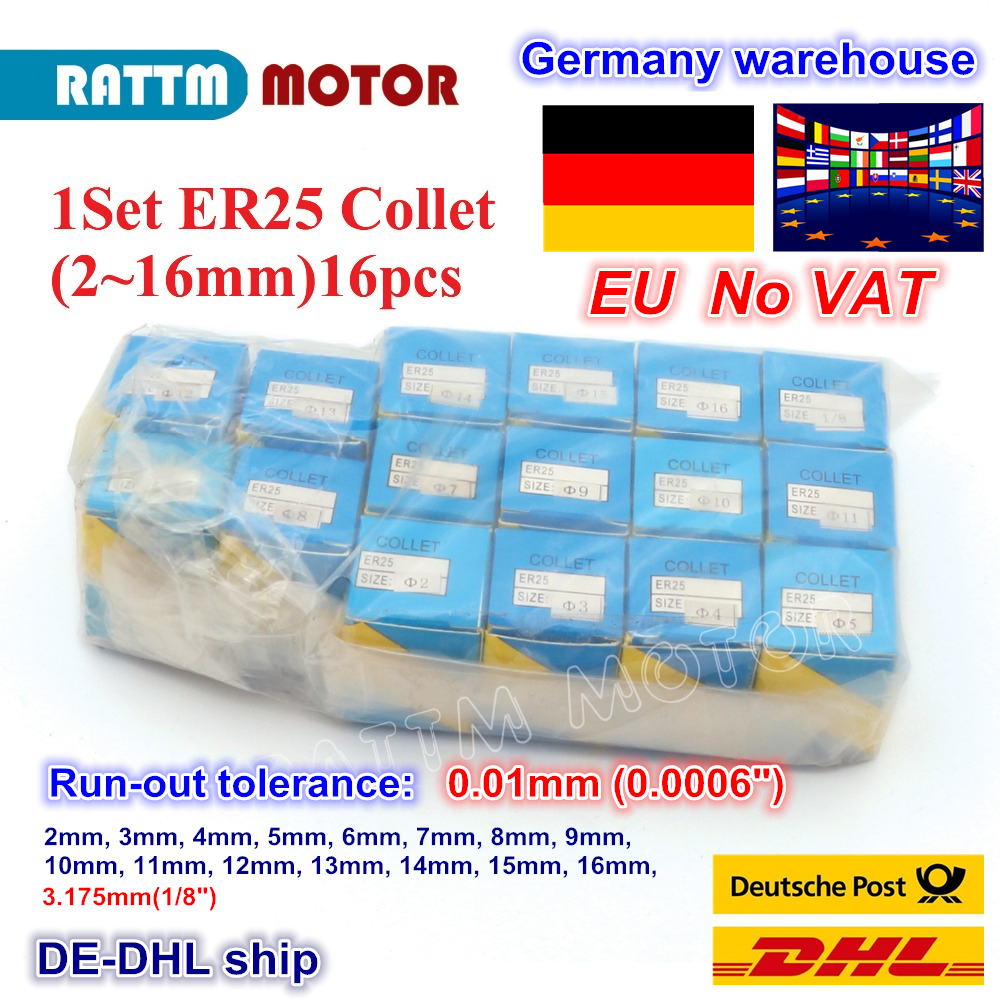 ER25 collet set 15 pcs from 2 mm to 16 mm for CNC milling lathe tool and spindle