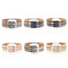 Multilayer Genuine Leather Charm Alloy Handmade Simple Chic Bangle Magnet Buckle Wide Wrap Bracelet Jewelry Women(China)