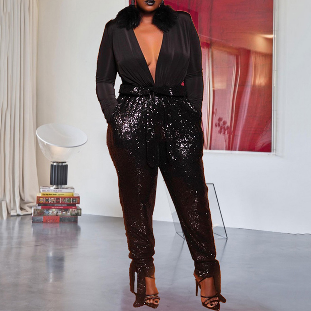 Sexy Deep V Neck Black Sequins Party Night Club Long   Jumpsuit   Oversized XL-5XL Plus Size Women Long Sleeve   Jumpsuit   Rompers