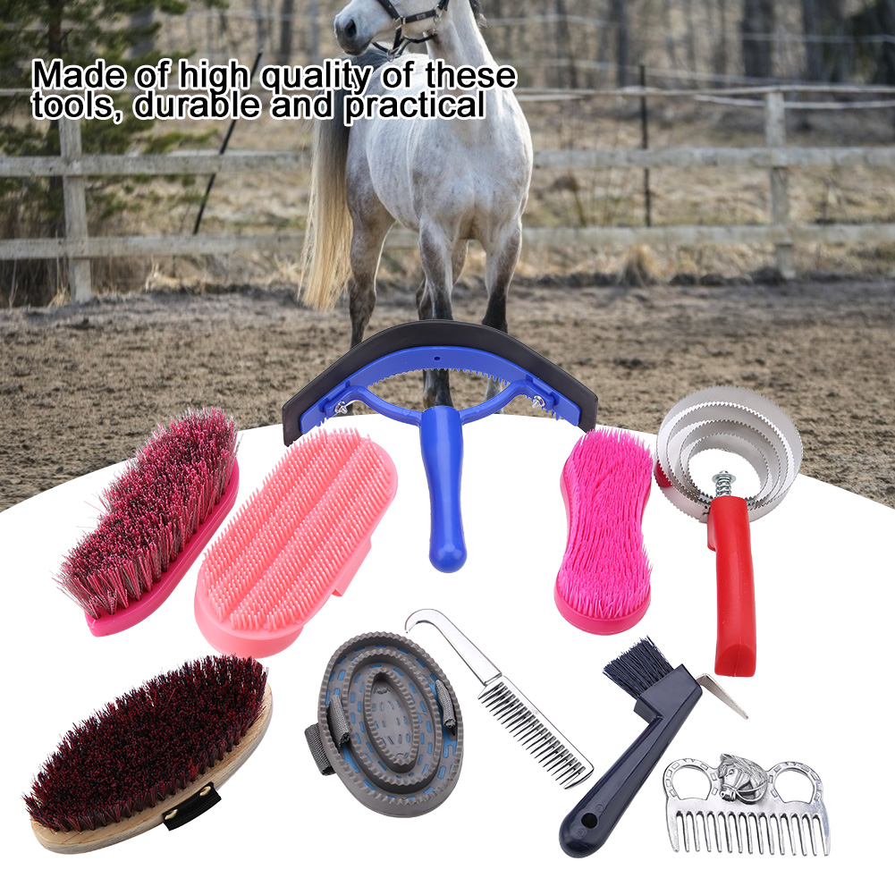 10Pcs Horse Comb Grooming Care Kit Equestrain Brush Sweat Curry Mane Tail Comb Horse Cleaning Scrubber Tool Set