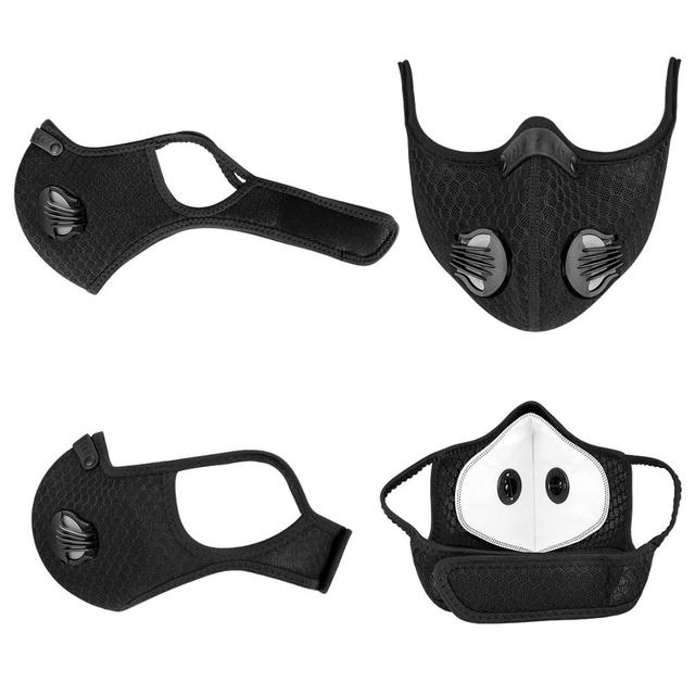 Batfox Cycling Mask Activated Carbon With Fliter Half Face Cover Dust-Proof Anti-Pollution Outdoor Sport Training Mask Bicycle 3