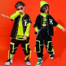 Crianças desempenho hip hop dança outfits colheita topos rua wear carga calças meninas meninos jazz dance wear trajes concerto outfits
