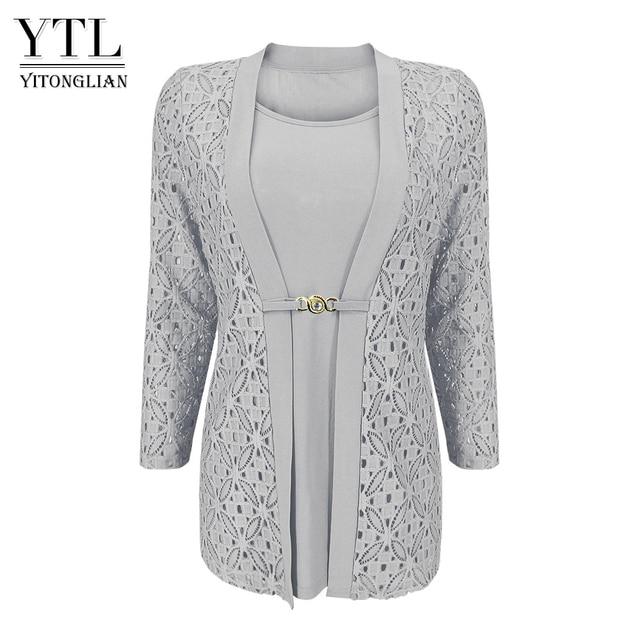 YTL Woman Elegant Long Sleeve Hollow Crochet Plus Size Blouse Shirt Autumn Winter Tops for Work Office H384B 1