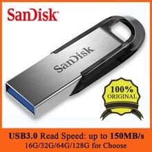 SanDisk USB 3.0 Flash Drive Disk 128GB 64GB 32GB 16GB Pen Drive Tiny Memory Stick Storage Device Flash Drive UltraFlair Dropship sandisk z71 usb 2 0 flash drive silver red 16gb