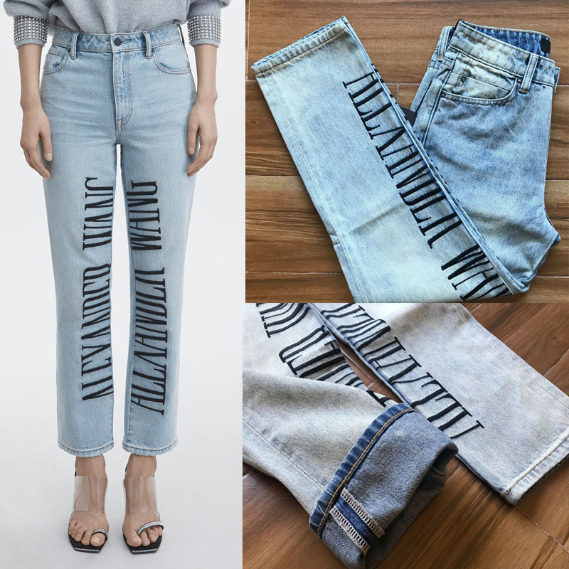 2020 Spring Summer Women's High Waisted Letter Embroidered Straight Jeans A2