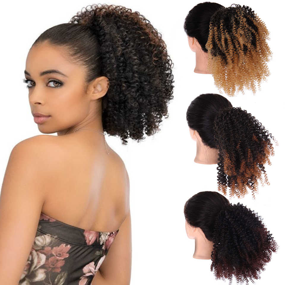 Lupu African American Natural Black Curly Short Ponytail Synthetic