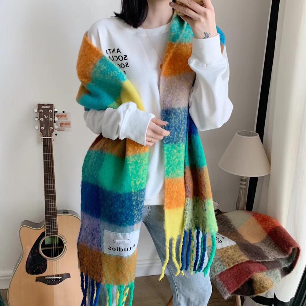 AC Studios Cashmere Shawl In Autumn And Winter 2019 Winter Fashion Colored Chequered Scarf Warms Students Necks  Thicker Shawls