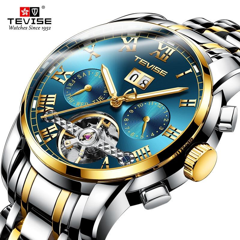 Skeleton Watch Mechanical-Watches TEVISE Tourbillon Waterproof Relogio Masculino Male