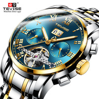 TEVISE Men's Tourbillon Waterproof Watches Automatic Mechanical Watches Men Skeleton Watch Male Wristwatch Relogio Masculino