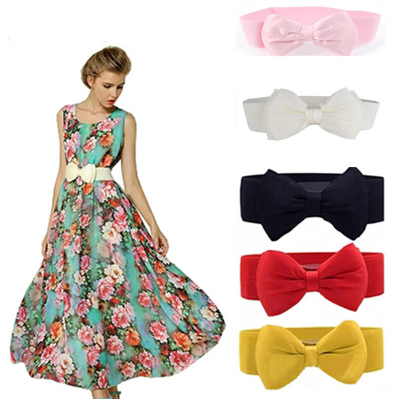 1Pc Fashion Women Wide Elastic Belt Bow Belts All-match Wide Stretch Waist Elastic Cummerbund Clothing Accessories