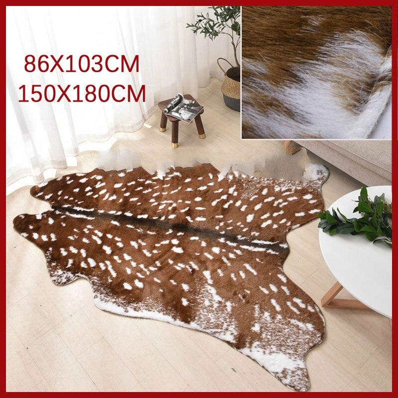 Sholisa Faux Cow Hide Rug Sika Deer Skin Rug Imitation Animal Skin Pelt Shape Handmade Simulation  Leather Floor Area Carpert