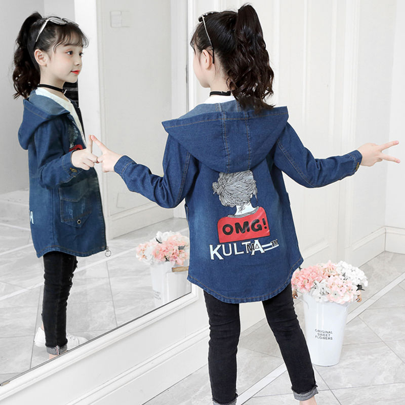 INS hot Girls denim   trench   4-15 years old kids Girls windbreaker spring and autumn Cartoon print hood long   trench   coat