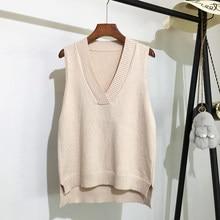 Gilet tricoté à col en v pour femmes, pull sans manches, ample, sauvage, coréen, nouvelle collection automne et hiver