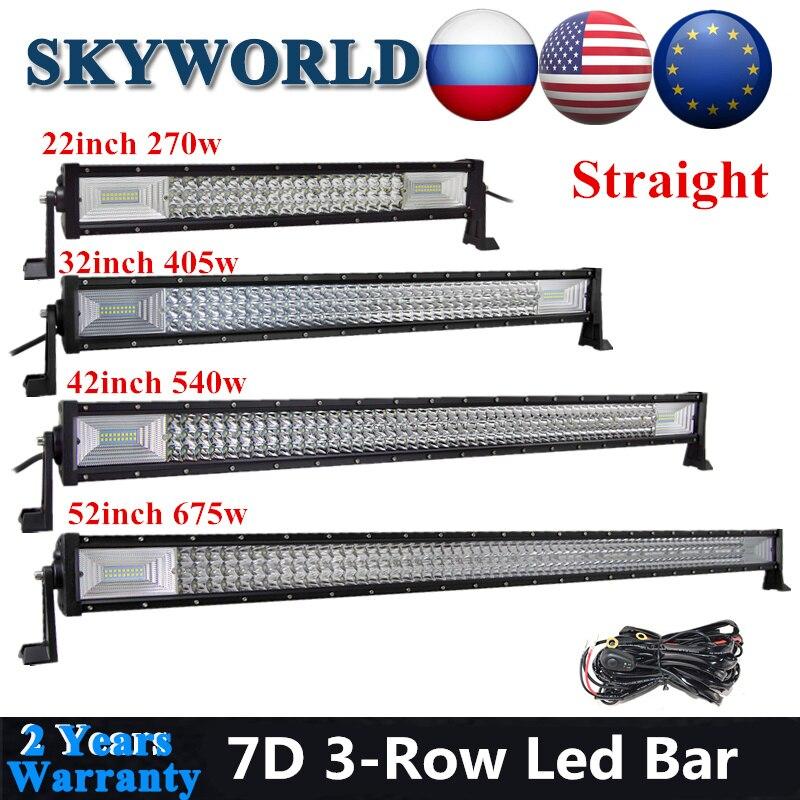 SKYWORLD barre de LED droit Offroad 22 32 42 52 pouces 7D conduite Combo faisceau barre de lumière LED pour voiture camion SUV ATV UAZ Kamaz tracteur