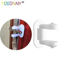 TUSUNNY Door Lever Lock,Baby Proofing handle Lock,Childproofing Knob Lock Easy to Install and Use 3M Adhesive