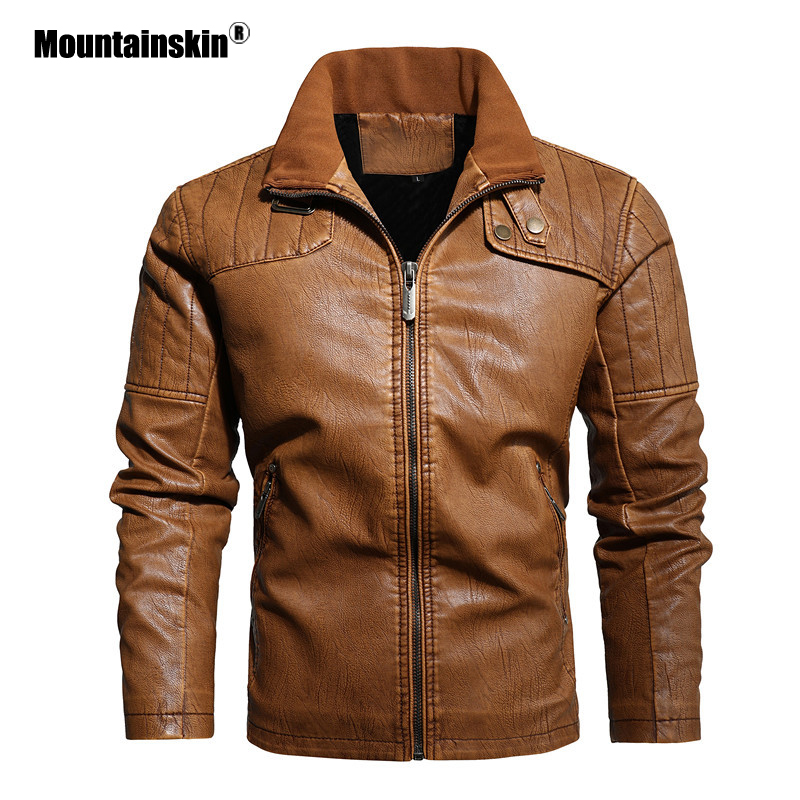 Mountainskin Winter Men's Leather Jacket 2020 New Mens Motorcycle PU Coat Warm Fashion Slim Outwear Male Brand Clothing SA865