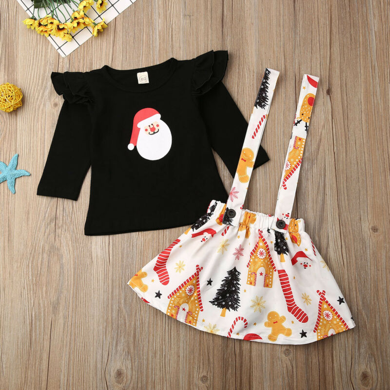 Toddler Kid Baby Girl XAMS Clothes Tops T-shirt Santa Claus <font><b>Bib</b></font> <font><b>Skirt</b></font> Overall image