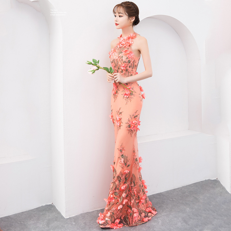 Gryffon Evening Dress For Wedding Party Luxury Halter Mermaid Dress Sweet Floral Print Prom Formal Evening Dresses Custom Size