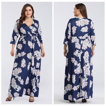Fashion Plus Size Long Dress For Women 3/4 Sleeve Floral Maxi Evening Party Lady Loose Tunic Femme