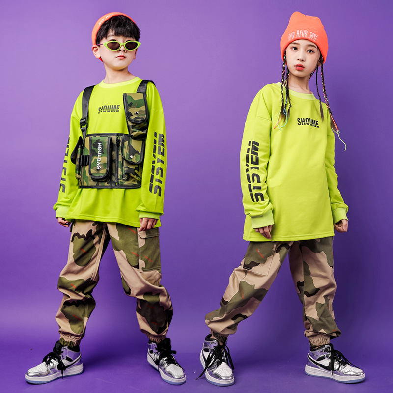 Kid Cool Sweatshirt Tops Camouflage Running Casual Hip Hop Pants Clothing Military Tactical Vest For Girl Boy Jazz Dance Costume