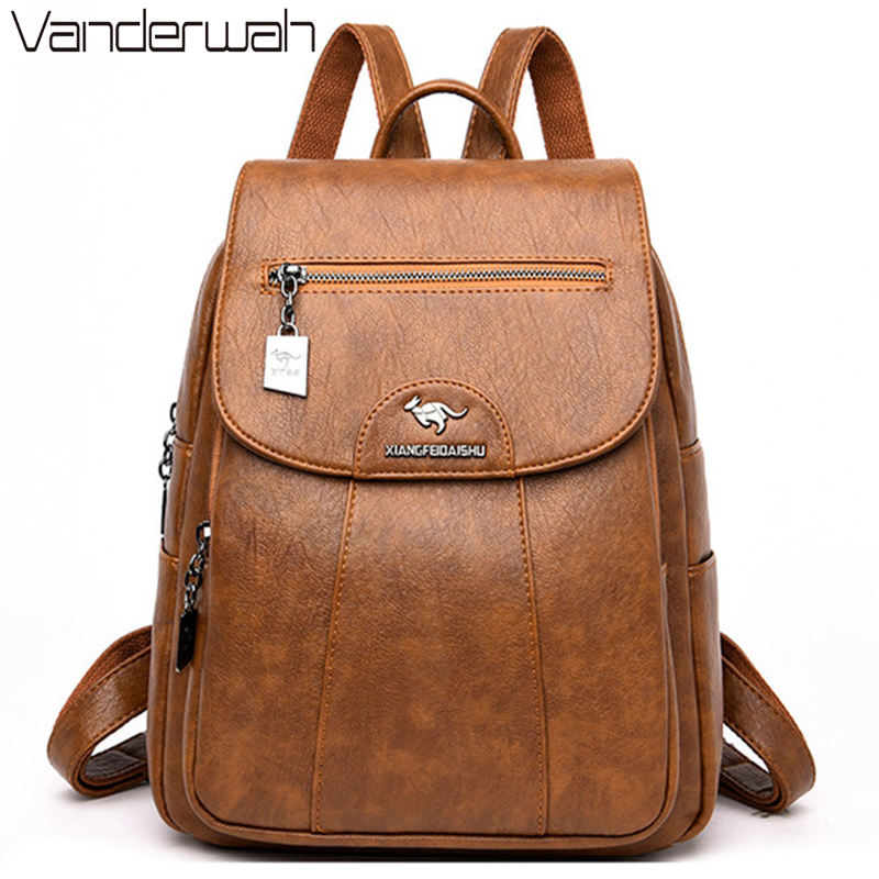 Women Soft Leather Backpacks Vintage Female Shoulder Bags Sac a 