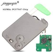 Пульт дистанционного управления jingyuqin с 2 кнопками и чипом PCF7947, 433 МГц, подходит для Renault Лагуна Espace 2001-2006, смарт-карта с дистанционным управле...