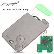 jingyuqin 2 Button Remote Key PCF7947 Chip 433Mhz suit for Renault Laguna Espace 2001-2006 Smart Card Remote Fob Car Styling