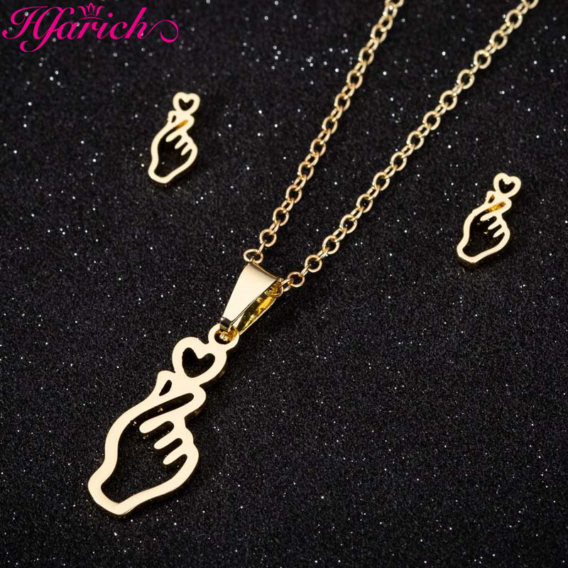 Finger Heart Gesture Pendant Necklace Earrings Set 1