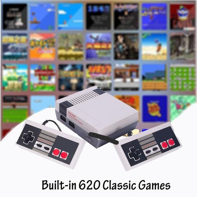 Video oyun çocukluk konsol denetleyici Tetris 8Bit klasik Retro NES TV oyun AV bağlantı noktası dahili 620 oyunları çift oyun kolu hediye