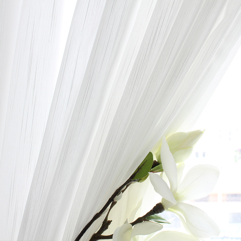Delicate And Light White Yarn Sheer Curtains For Living Room Bedroom Fine Woven Line Classic Window Screen Custom Silky Fabric