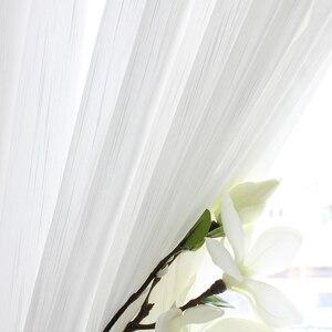 Cortinas para sala de estar y dormitorio transparentes de hilo blanco, delicadas y ligeras, línea de tejido fino, pantalla clásica para ventana, tela sedosa personalizada