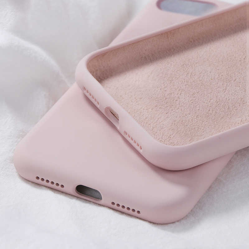 Miękkie silikonowe etui z płynem do iPhone 7 8 6 6s Plus cukierki kolor Coque Capa do iPhone X Xs 11 Pro Max XR Capa