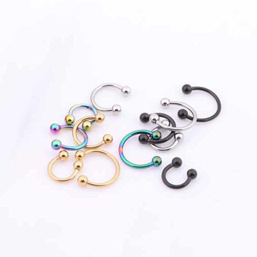 1 Pcs Nose Ring C Shape Segment Tragus Fake Septum Nose Rings Stud Helix Piercing Body Jewelry Women Earrings