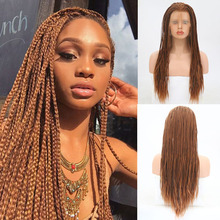 цена на RONGDUOYI Long Brown Braided Box Braids Wig Free Part Synthetic Lace Front Wigs for Women Two Tone Brown Hair Lace Cosplay Wig