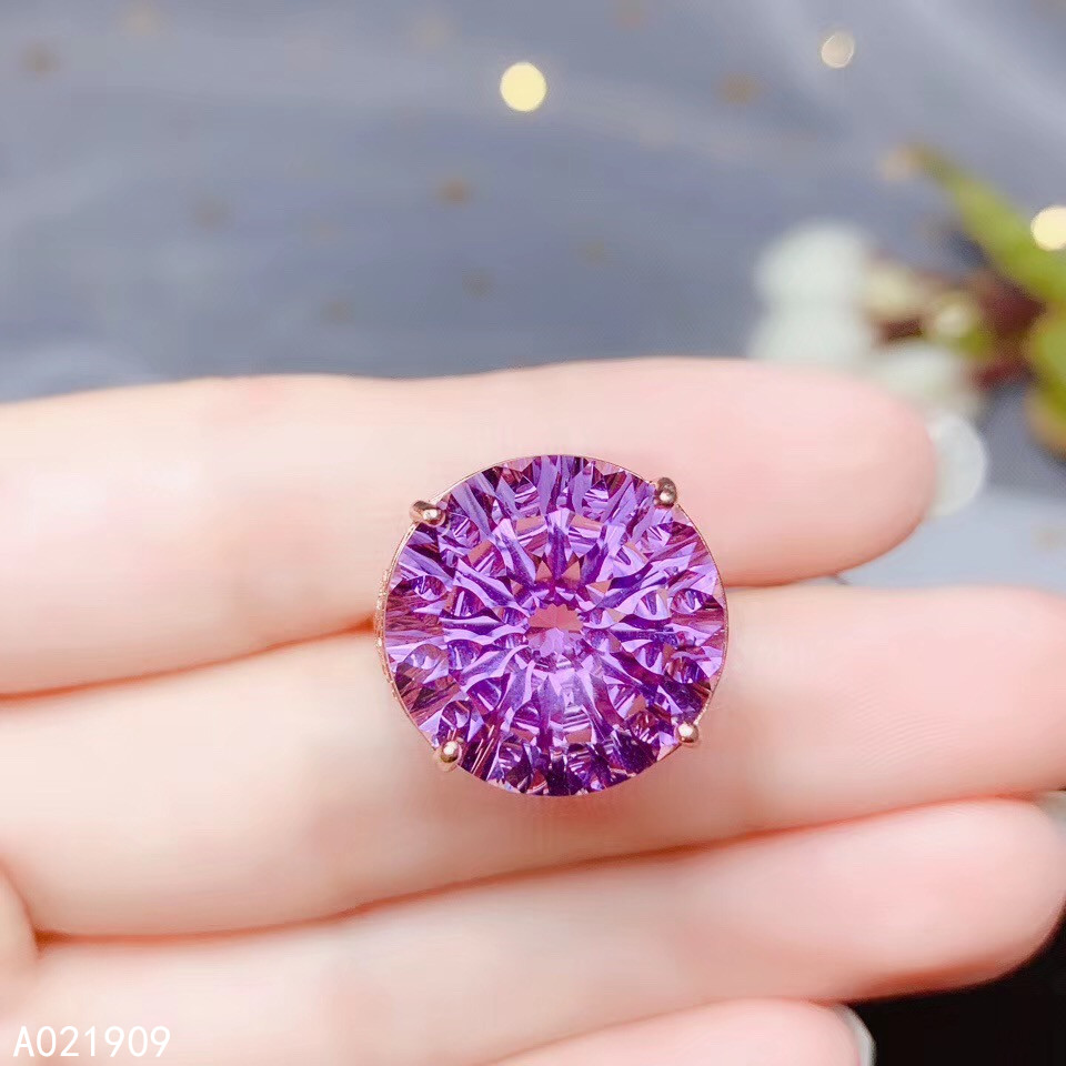 KJJEAXCMY boutique jewelry 925 sterling silver inlaid Natural Amethyst ring men female support detection exquisite noble