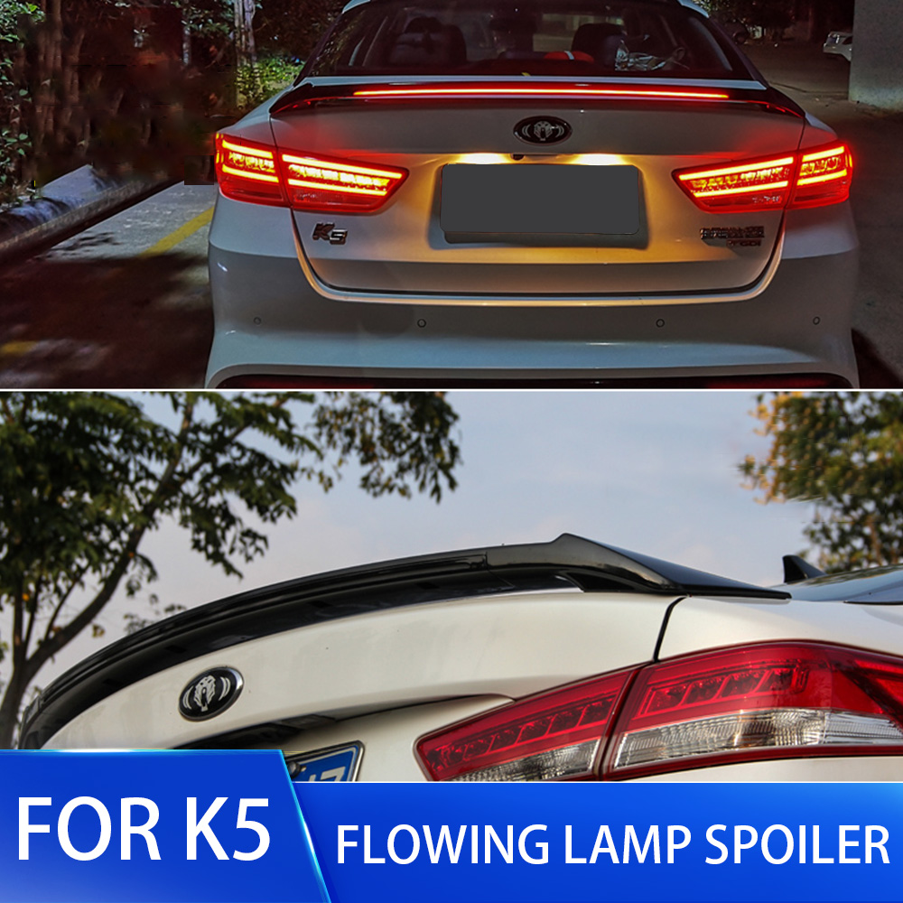 New Design Rear Wing Spoiler For Kia K5 Optima 2016 2017 2018 2019 Flowing Brake Lamp Trunk ABS Plasti Spoiler Wing FOR K5 Part image