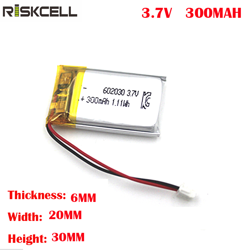 <font><b>602030</b></font> 300mAh 3.7v rc curved lithium polymer ion battery cells pack with ntc electric scooter charger module image