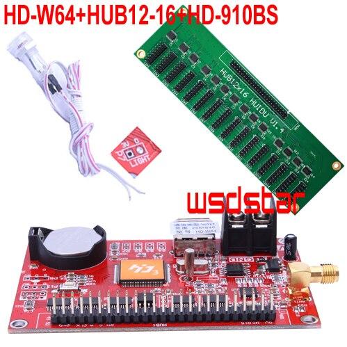 HD-W64 + HUB12-16 + HD-910BS датчик яркости 16 * HUB12 1024*256 USB + WIFI один и два цвета P10 светодиодная карта управления дисплеем