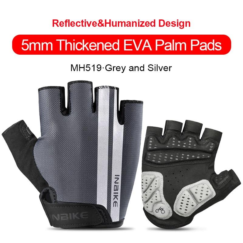 MH519-Grey-INBIKE Summer Men Women Half Finger Shockproof Cycling Gloves