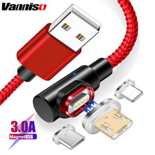 Vanniso 1M 2M Magnetic Cable Micro usb Type C Fast Charging 3A Microusb Type-C Magnet Charger c For iphone X Xr Xs cable