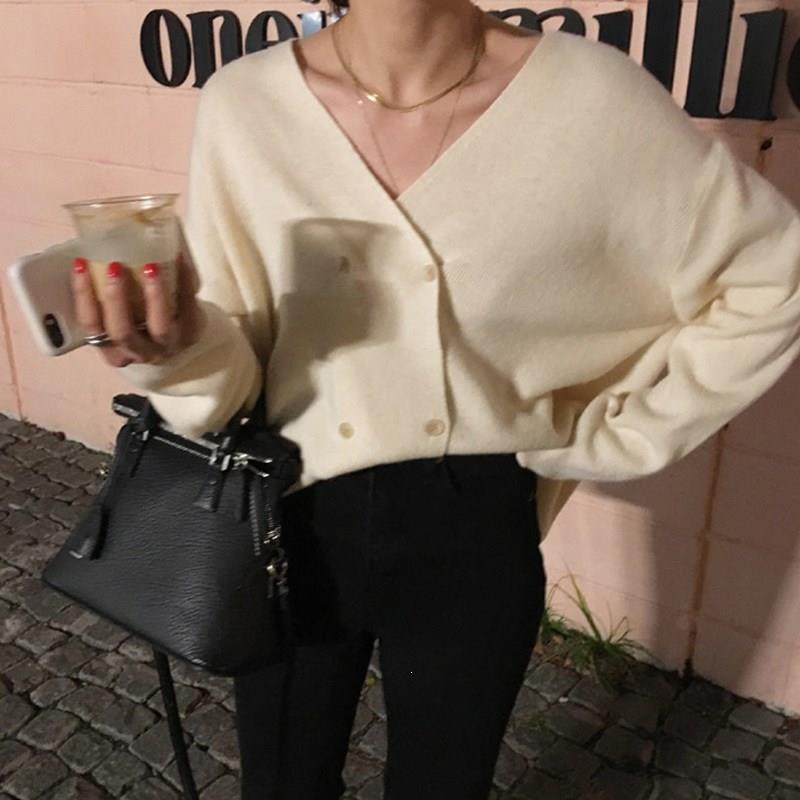 Elegant V-Neck Double-Breasted Women Sweater Loose Batwing Sleeve Cardigan Chic Open Stitch Solid Knitted Sweater