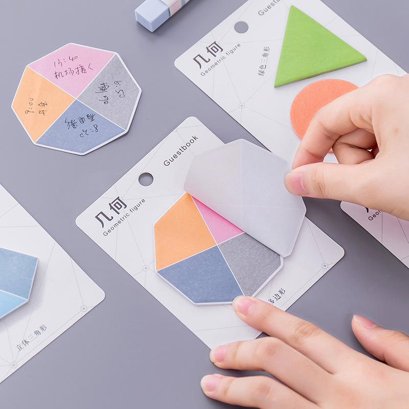 1Pack  Sticker Colorful Student Message Sticker N Times Memo Pad Creative  Geometric Shap Notes Pad School Office Label Su
