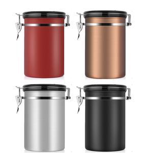 Image 3 - Recipiente de feijão café grande hermético aço inoxidável café chá sortage vasilha preto cozinha sotrage para organizador cozinha