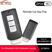 KEYECU 3 bouton Smart télécommande clé Fob 433MHz PCF7952 puce pour Mitsubishi Lancer Outlander ASX 2010-2015 FCC: G8D-644M-KEY-E