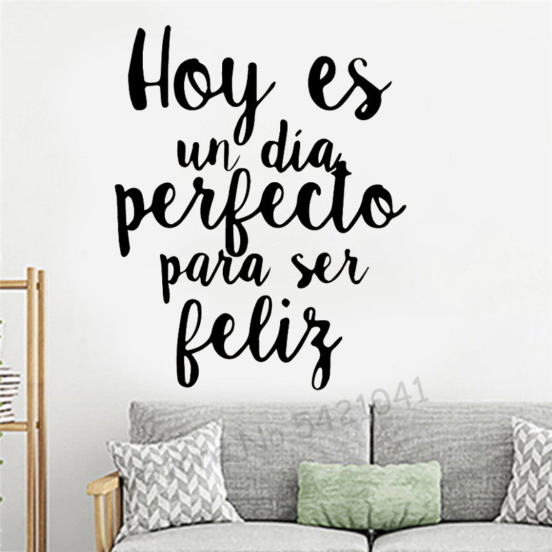 Carved Spanish Phrase Wall Stickers Vinyl Waterproof Home Decoration Living Room kid's Room Background Wall house Decal